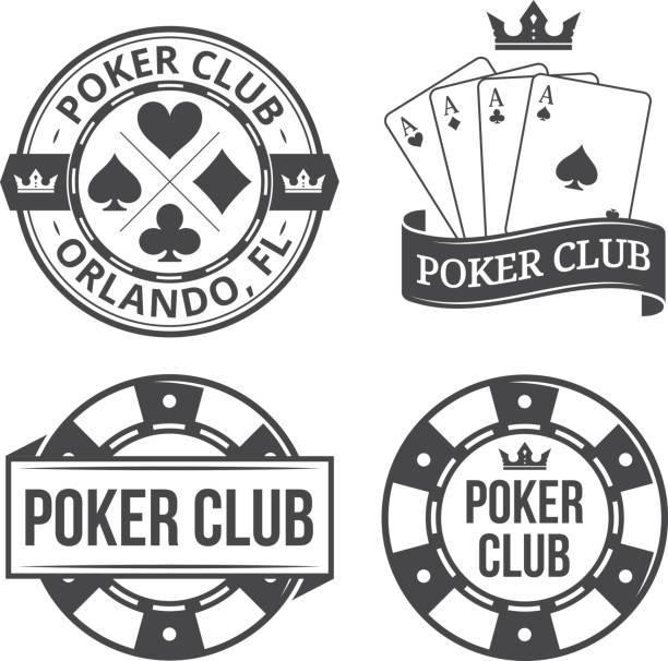 Vintage poker emblems Vintage poker vector emblems gambling chip stock illustrations