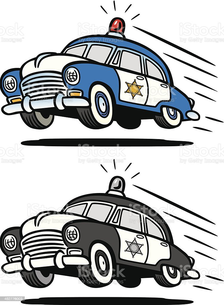 Vintage Police Car vector art illustration