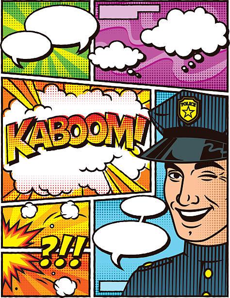 vintage polizisten comic-layout-vorlage - kopfschüsse stock-grafiken, -clipart, -cartoons und -symbole