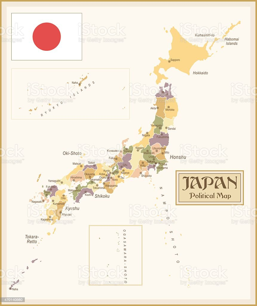 A Vintage Political Map Of Japan Stock Vector Art IStock - Japan map political