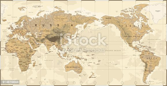 Vintage Political Physical Topographic World Map Pacific Centered- vector