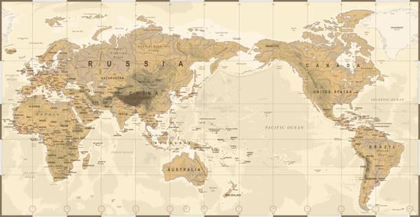 Vintage politischen physischen topographische Welt Karte Pazifik zentriert – Vektorgrafik
