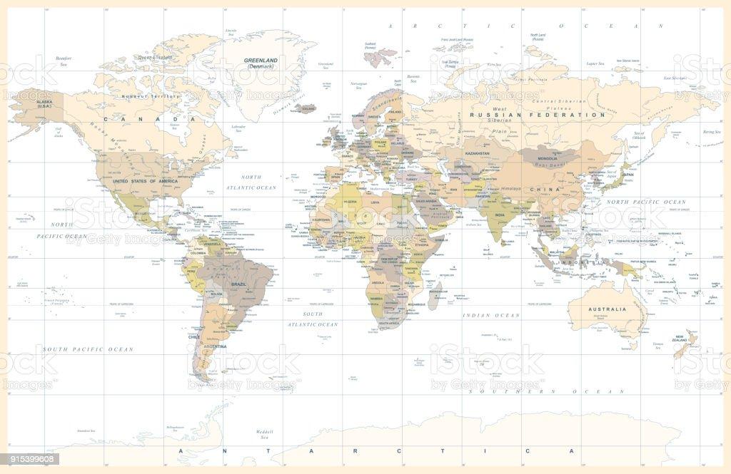 Mapa de mundo color topogrfico poltico vintage vector arte mapa de mundo color topogrfico poltico vintage vector mapa de mundo color topogrfico poltico vintage vector gumiabroncs Images