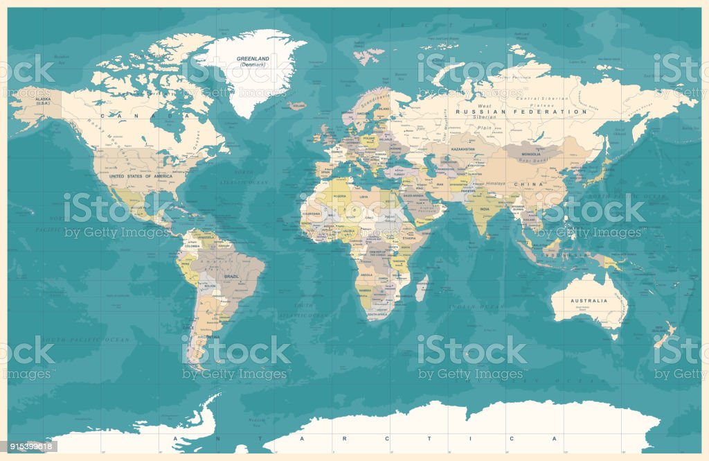 Topographische Karte Ungarn.Vintage Farbige Welt Der Politik Topographische Karte Vektor