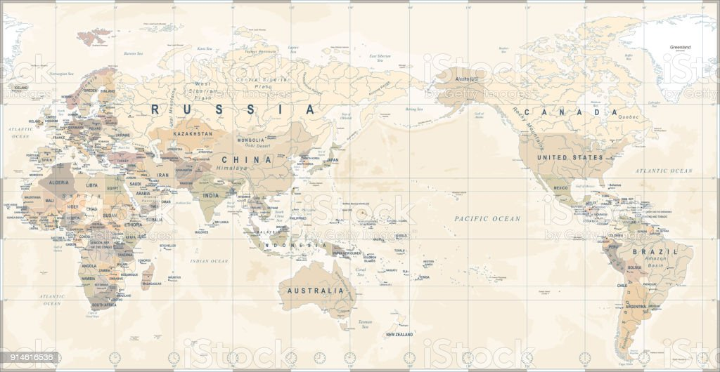 Vintage political world map pacific centered stock vector art more vintage political world map pacific centered royalty free vintage political world map pacific centered stock gumiabroncs Choice Image