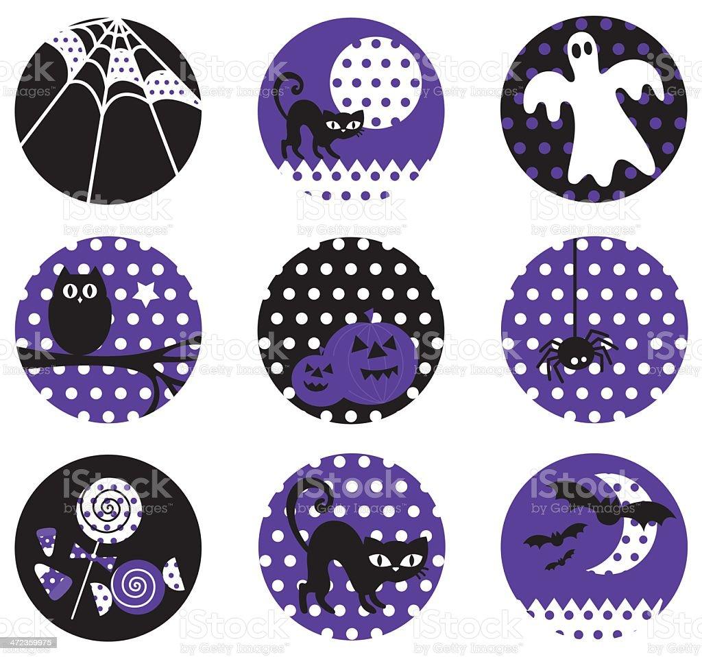 Vintage Polka Dot Halloween Icon Set royalty-free vintage polka dot halloween icon set stock vector art & more images of badge