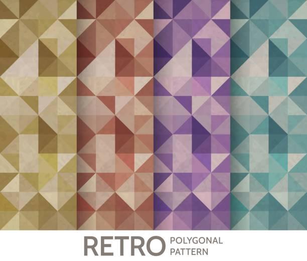 Vintage polygonal pattern set. Vector geometric background. vector art illustration