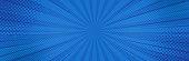 Vintage pop art blue background. Banner vector illustration.