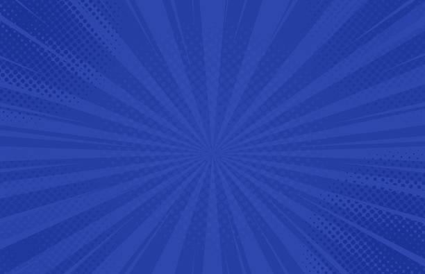 Vintage Pop-Art-blau-Hintergrund. Banner-Vektor-Illustration – Vektorgrafik