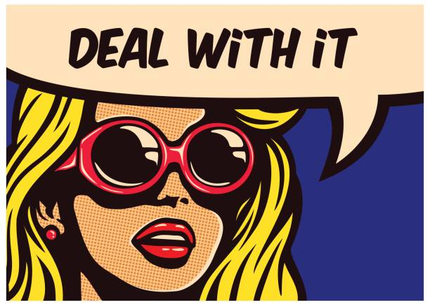 Vintage pop art comic book panel cool imperturbable indifferent girl with sunglasses with speech bubble vector illustration vector art illustration