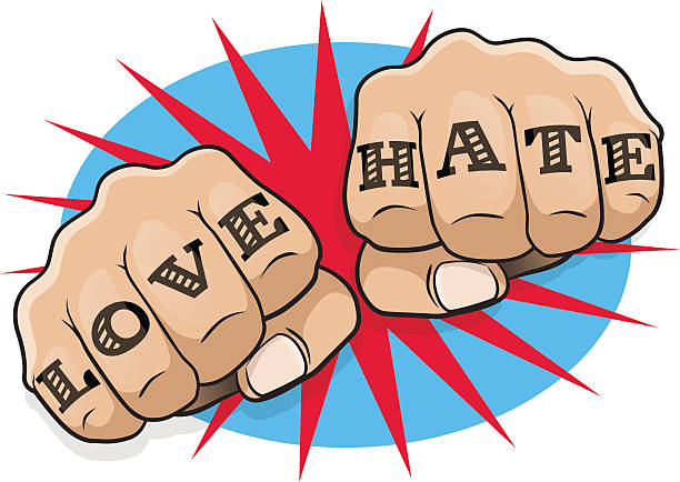 Vintage Pop Art Love and Hate Punching Fists. vector art illustration