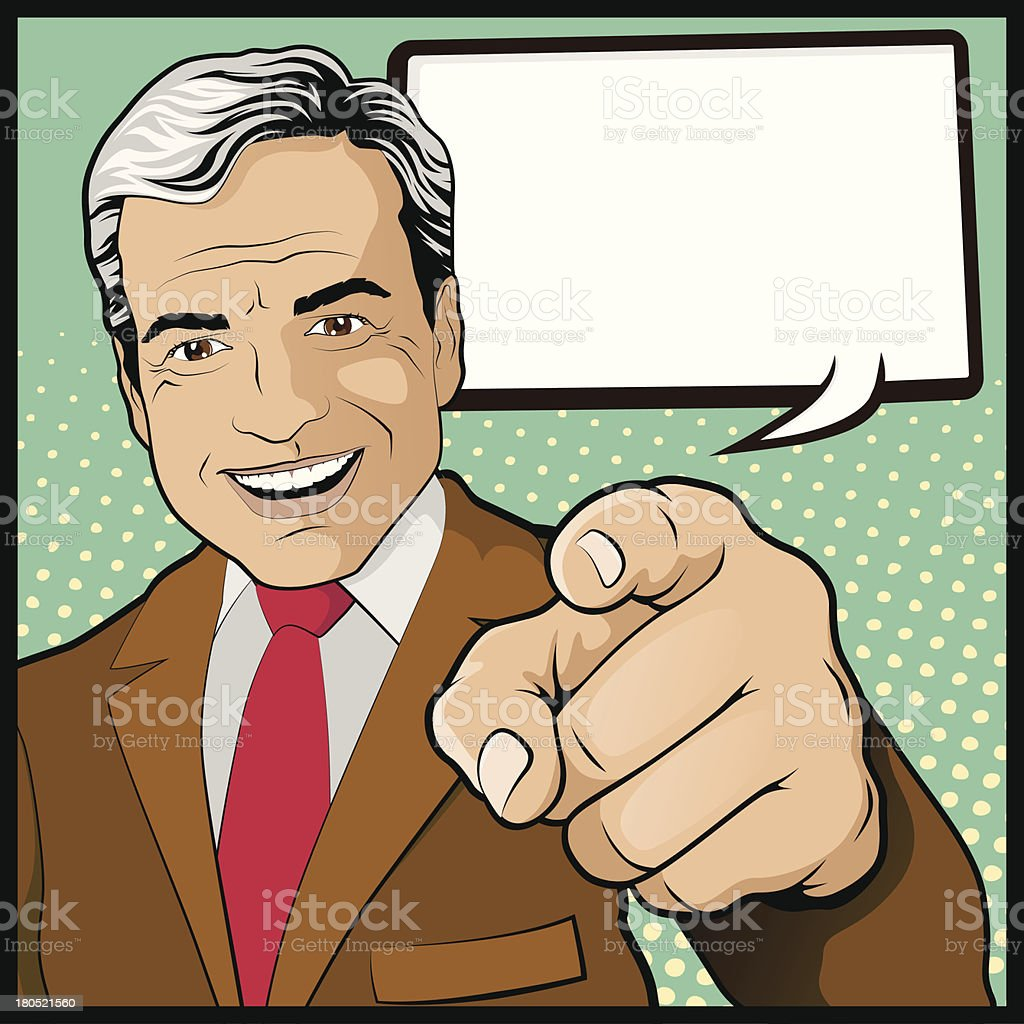 Vintage Pop Art Man with Pointing Hand - Royalty-free 1950-1959 stock vector