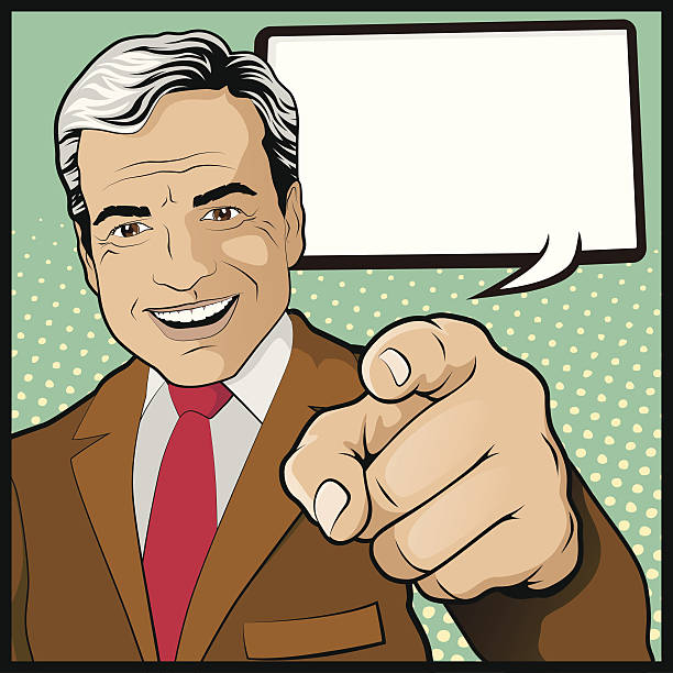 Vintage Pop Art Man with Pointing Hand vector art illustration