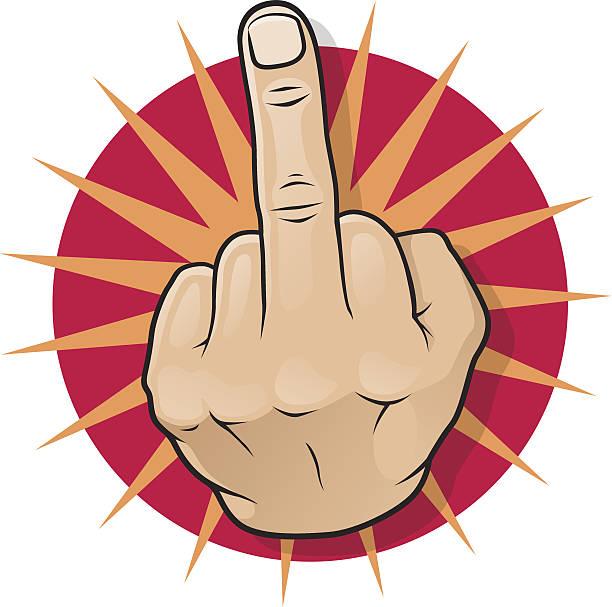 Vintage Pop Art Middle Finger Up. vector art illustration