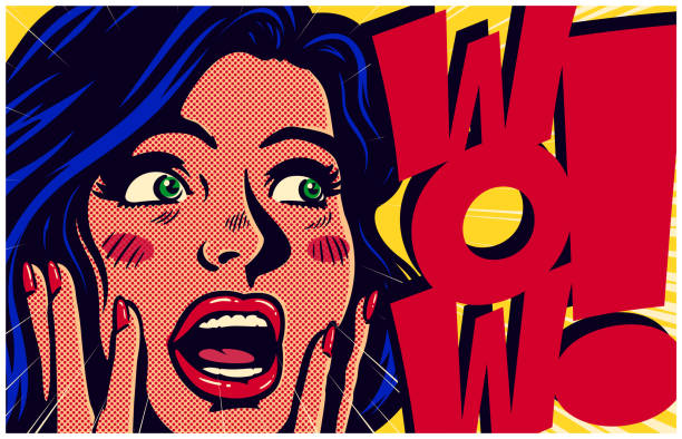 vintage pop art style surpised and excited comic girl saying wow vector illustration - поп арт stock illustrations