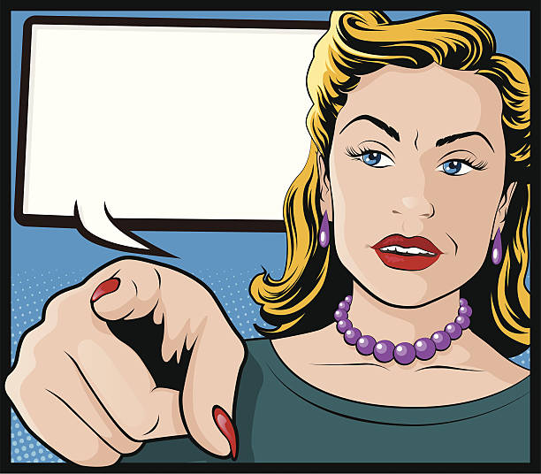 Vintage Pop Art Woman with Pointing Hand vector art illustration