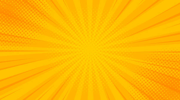 bildbanksillustrationer, clip art samt tecknat material och ikoner med vintage popkonst gul bakgrund. illustration av banderollvektor - serier