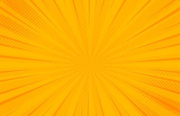 빈티지 팝 아트 노란색 배경입니다. 배너 벡터 일러스트레이션 - 노랑 stock illustrations