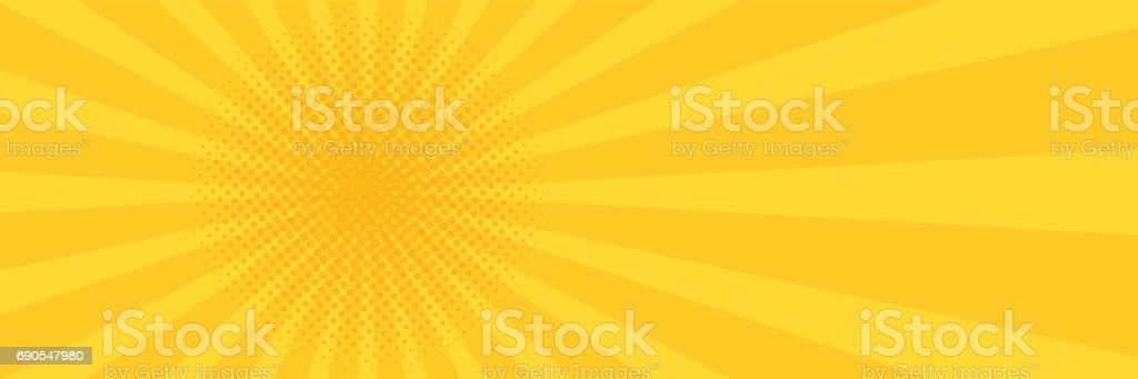 Vintage pop art yellow background. Banner vector illustration