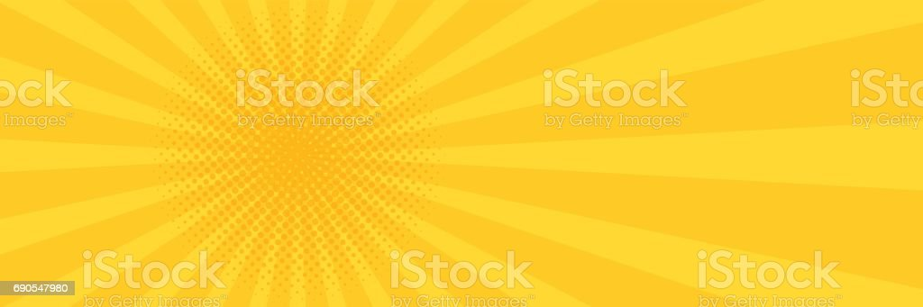 Vintage pop art yellow background. Banner vector illustration vector art illustration