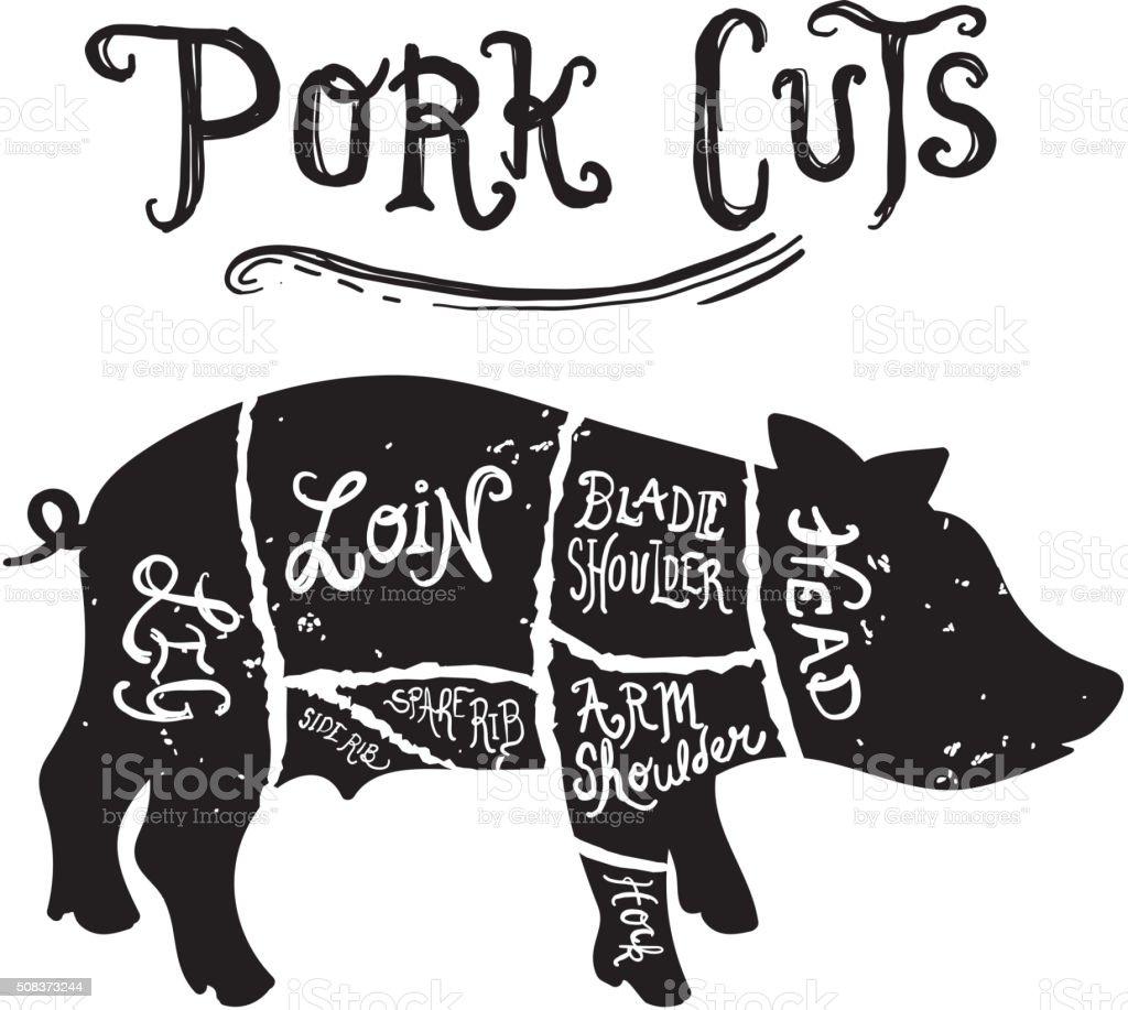 Morceaux De Boucherie Diagramme De Porc Vintage – Cliparts ...