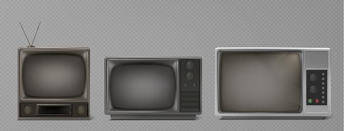 Vintage portable black and white TV receiver. Retro technology concept