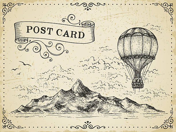 Vintage Post Card Hand drawn illustration.File is grouped,layered with global colors.More works like this in my portfolio. hot air balloon stock illustrations