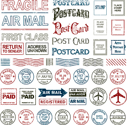 Vintage Postage and Postmark Icon Set