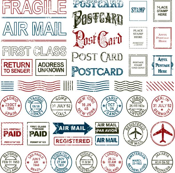 vintage postage and postmark icon set - postcard stock illustrations