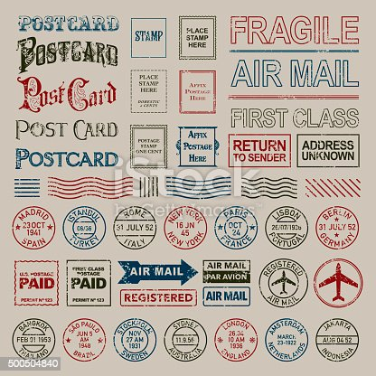 A large icon set including a variety of different postmark stamps so you can customize the postcard as you choose. Shapes are grouped and color swatches are Global to allow easy color changes.