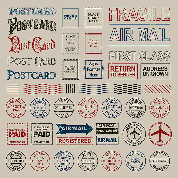 Vintage Postage and Postmark Stamps Set A large icon set including a variety of different postmark stamps so you can customize the postcard as you choose. Shapes are grouped and color swatches are Global to allow easy color changes. postmark stock illustrations