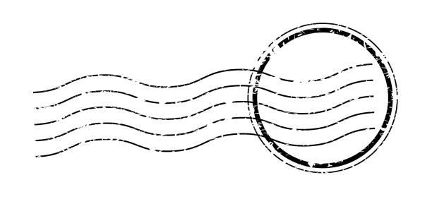vintage anulowanie znaczka pocztowego. ślad znaku wysyłki. - pieczęć znaczek stock illustrations