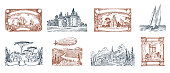 Vintage Postage stamps. Ancient landscapes, dragon and sailing ship. Retro old Sketch. Monochrome Postcard. Hand drawn engraved retro mark, frames collection for print banner, poster and logo.