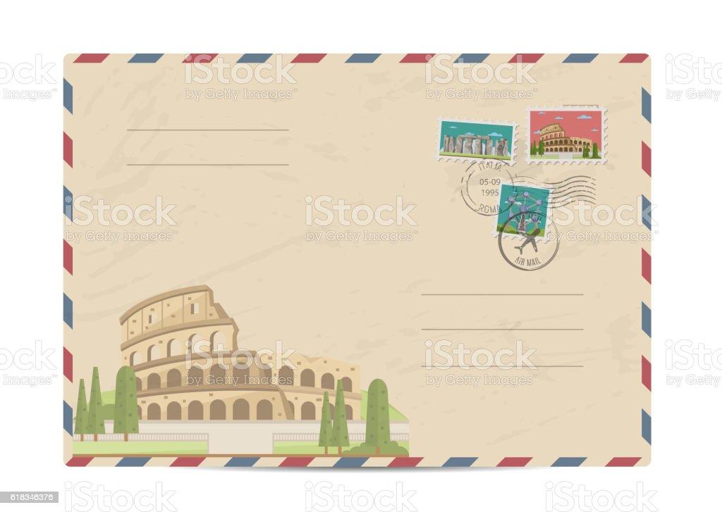 Vintage postal envelope with stamps vector art illustration
