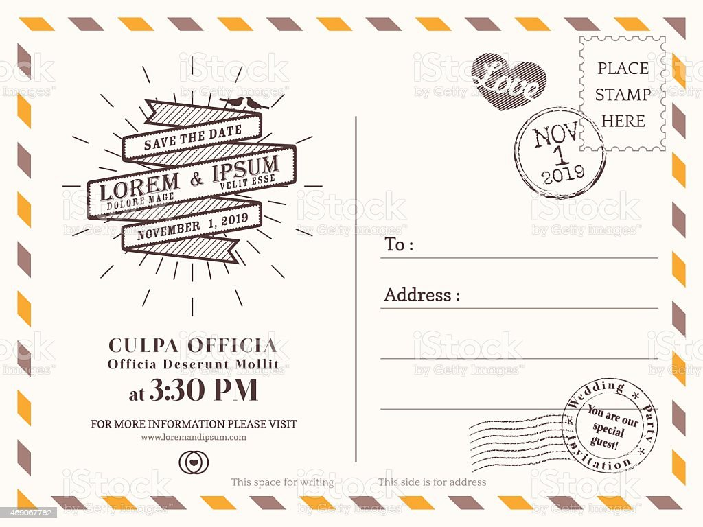Vintage Postcard Background Vector Template For Wedding Invitation - Card template free: postcard wedding invitations template