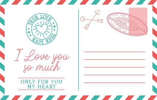 vintage postcard of love. vector