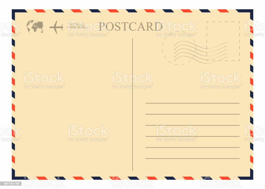 Vintage postcard template. Retro airmail envelope with stamp, airplane and globe