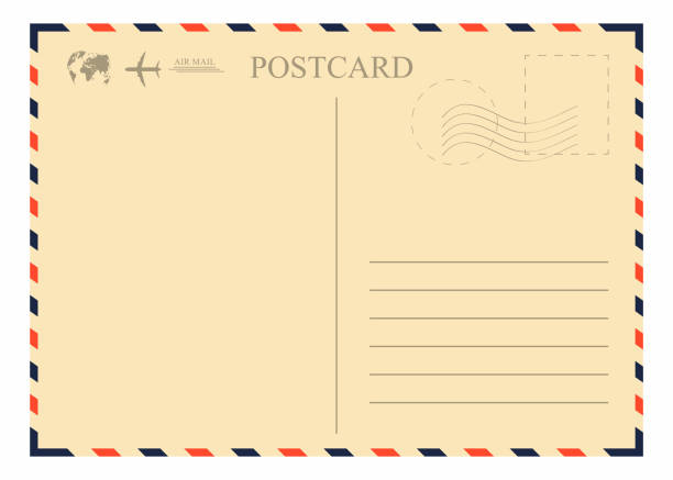 vintage postcard template. retro airmail envelope with stamp, airplane and globe - postcard stock illustrations