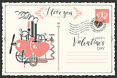 Valentine card in form of postcard with two hearts connected by different mechanisms and pipes. Romantic vector card with love factory and with inscriptions I love you and Happy Valentines day