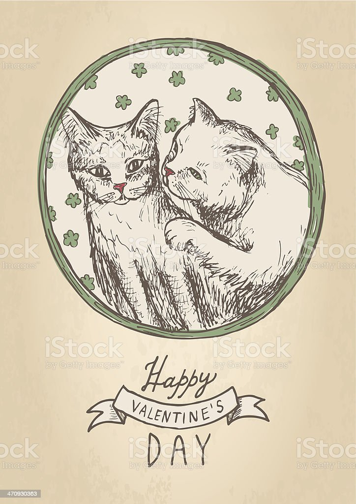 hand drawn vintage postcard Valentine\'s Day with cats