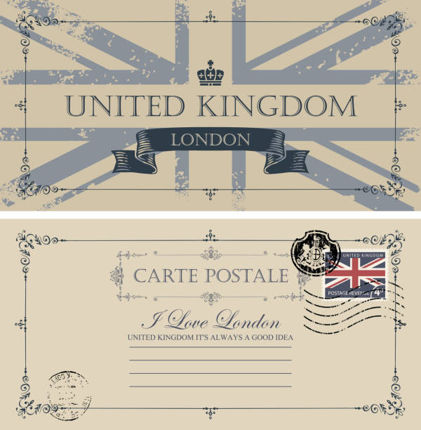 英国の旗とヴィンテージのポストカード - イギリスの国旗点のイラスト素材/クリップアート素材/マンガ素材/アイコン素材