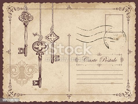 Retro vector postcard with old keys and keyhole, with place for text on old beige background in vintage style with rubber stamp