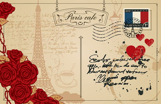Vintage Postcard With The Eiffel Tower In Paris Stock