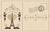 Retro postcard with the famous french Eiffel tower in Paris, France. Vector postcard in vintage style with french landmark, vignette, rubber stamp and words I love Paris