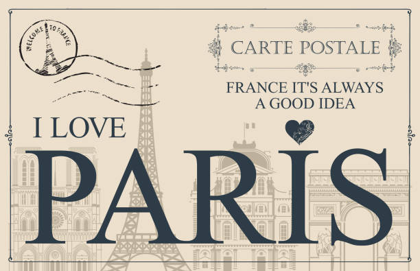 Vintage postcard with words I love Paris Retro postcard with words I love Paris and rubber stamp with Eiffel tower. Vintage vector card with contour drawings of the famous French architectural landmarks french culture stock illustrations