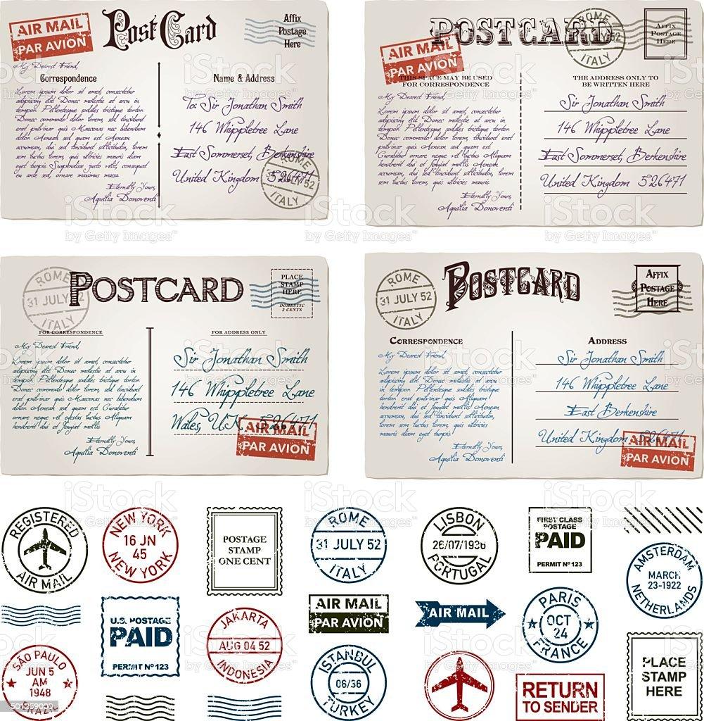 Vintagepostkarten Und Briefmarken Set Poststempel Stock Vektor Art ...