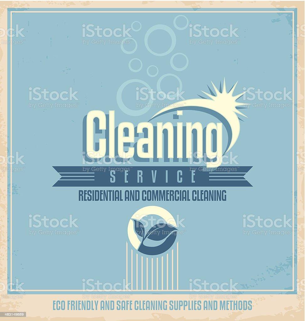 Vintage poster design for cleaning service vector art illustration