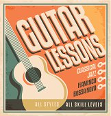 Vintage poster design for guitar lessons