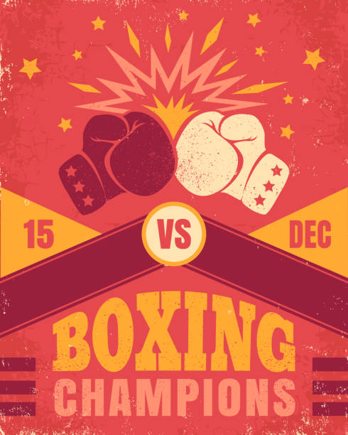 stockillustraties, clipart, cartoons en iconen met vintage poster voor een boksen - knock out