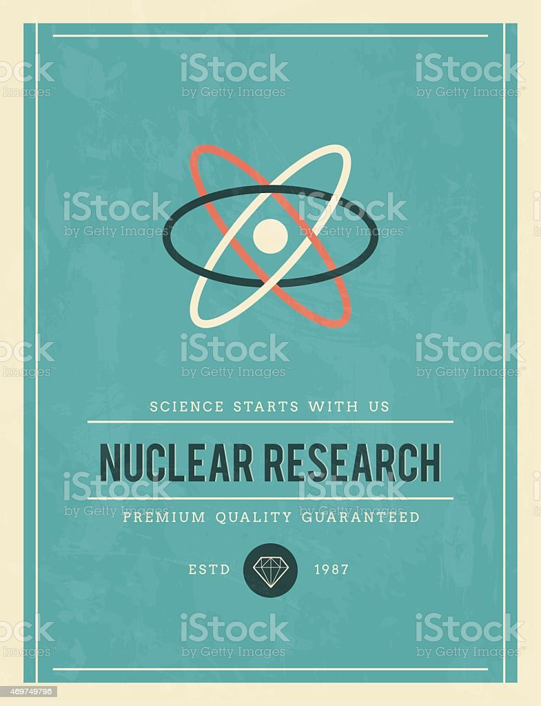 vintage poster for nuclear research vector art illustration